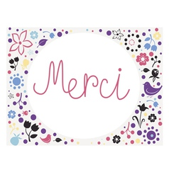 Floral card merci vector