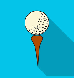 Golf ball on tee icon in flat style isolated on vector