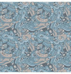 Hand drawn seamless pattern with wave and curl vector