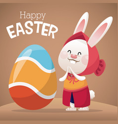 Happy easter card girl bunny egg decoration vector
