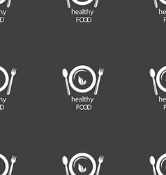 healthy food concept sign Seamless pattern on a vector image