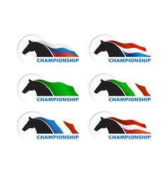 Horse with flag on white background vector image vector image