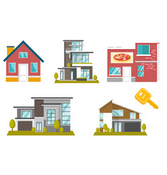 houses cartoon set vector image vector image