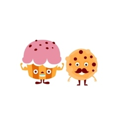 Humanized Cupcake And Cookie vector image