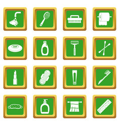 Hygiene tools icons set green vector