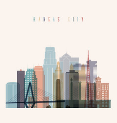 Kansas city skyline silhouette vector