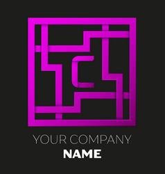 Letter c symbol in colorful square maze vector