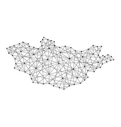 Map of mongolia from polygonal black lines vector