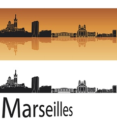 Marseilles skyline in orange background vector image vector image