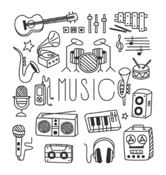 Musical instruments in handdrawn style vector