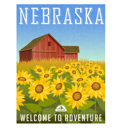 nebraska travel poster or sticker vector image vector image