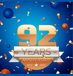 Ninety two years anniversary celebration design vector