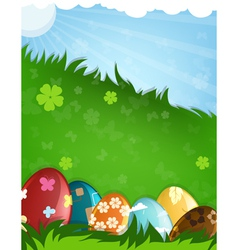 Painted Easter eggs in a grass vector image vector image