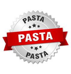 Pasta 3d silver badge with red ribbon vector
