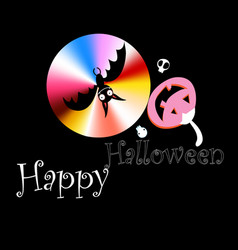 poster for halloween with bats and pumpkins vector image