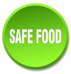 Safe food green round flat isolated push button vector