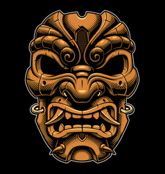 samurai warrior mask color version vector image