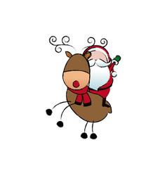 Santa riding a reindeer in christmas cartoon vector