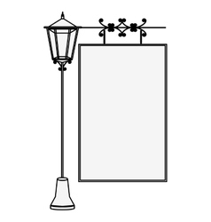 silhouette lamp post with poster vector image