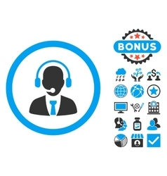 Call center flat icon with bonus vector
