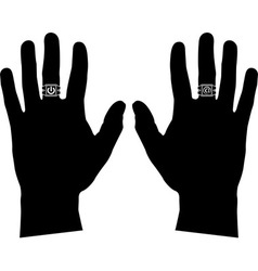 Hands with rings stencil vector
