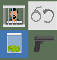 Gun prison and drugs icons vector
