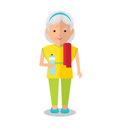 Elderly woman with bottle vector