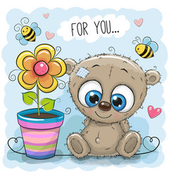 Greeting card bear with flower vector