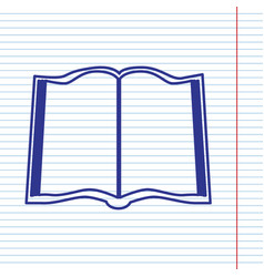 Book sign navy line icon on notebook vector