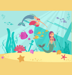 cartoon fairytale underwater background vector image