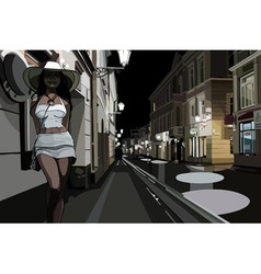 Woman on the street in the night city vector