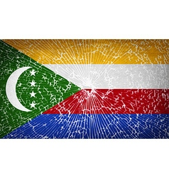 Flags comoros with broken glass texture vector