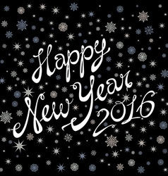 2016 happy new year black background snow vector