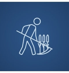 Man mowing grass with scythe line icon vector