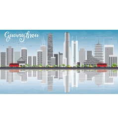 Guangzhou skyline with gray buildings blue sky vector