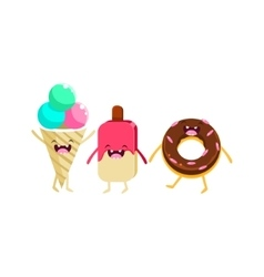 Ice-cream and doughnut cartoon friends vector