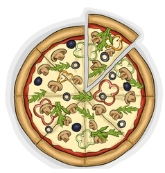 Pizza with mushrooms color picture vector