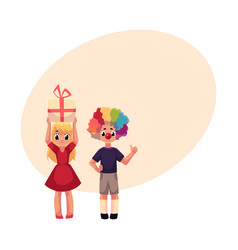 Boy with clown nose and wig girl holding birthday vector