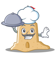 Chef with food sandcastle character cartoon style vector