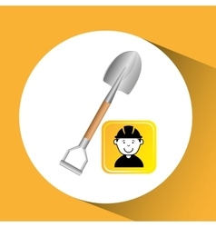 Construction worker shovel graphic vector