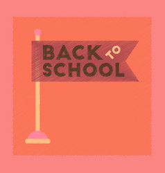Flat shading style icon back to school flag vector