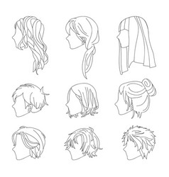 hairstyle side view man and woman line vector image