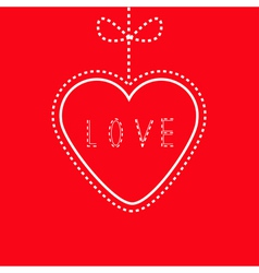 Hanging red heart with bow Love card vector image vector image