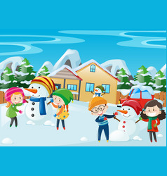 happy kids playing in winter vector image