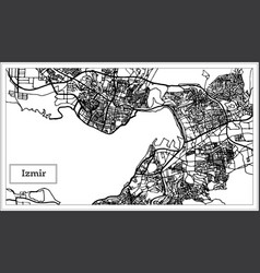 Izmir turkey map in black and white color vector