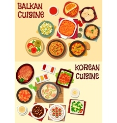 Korean and balkan cuisine dinner icon set vector