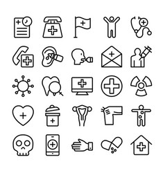Medical health and hospital line icons 12 vector