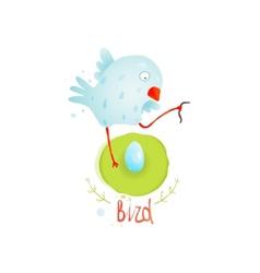 Mother Bird in Nest Feeding Egg vector image vector image