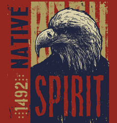 Native american poster eagle vector