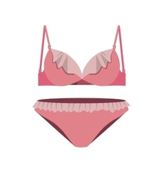 Pink set lingerie with lace vector